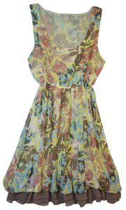 American Rag short dress Yellow Floral Sleeveless Polyester Ruffles on Tradesy
