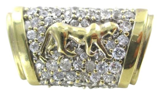 Other 14K KARAT SOLID YELLOW GOLD SLIDE PANTHER PANTHERE ZIRCONIA PJI DESIGNER JEWELRY