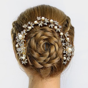 Rhinestone Crystal Pearl Accent Bridal Hair Comb