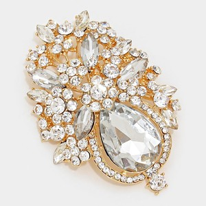Clear Gold Rhinestone Crystal Plated Brooch/Pin