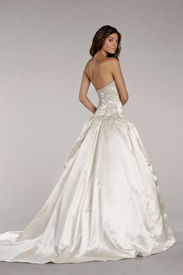 Lazaro Ivory Satin Ll4410 Traditional Wedding Dress Size 6 (S)