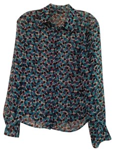 INC International Concepts Dots Blue Top Blue Patterned
