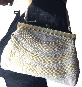 Mother of Pearl Purse Bridal Beaded Satchel in White & Ivory