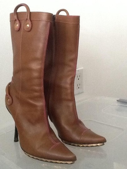 D squared Brown with pink trim and gold hardware Boots