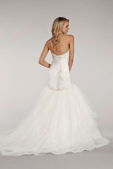Lazaro Ivory Organza Tulle and Horsehair Ll4401 Wedding Dress Size 6 (S)