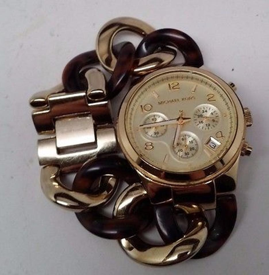 2b5a375eabe5 Michael Kors Michael Kors Chain Link Acrylic Gold-tone Ladies Watch Mk4222  Image 2. 123
