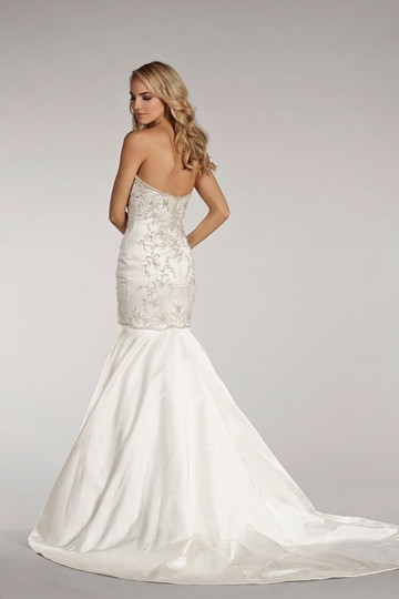 Lazaro Ivory Satin Ll4409 Wedding Dress Size 8 (M)