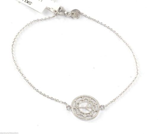 Jude Frances ZASHA BY JUDE FRANCES 14K White Gold Small Chain Link Diamond Peace Bracelet