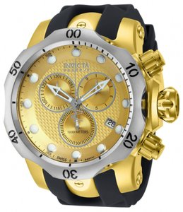 Invicta Invicta Venom Champagne Dial Black Polyurethane Gold Ion-plated Mens Watch 16151
