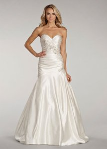 Lazaro Ivory Satin Ll4400 Wedding Dress Size 10 (M)