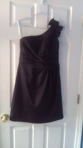 David's Bridal Black Satin One Shoulder Dress