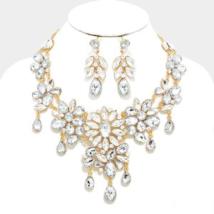 Clear Gold Rhinestone Crystal Droplets Charm Necklace and Earrings Jewelry Set