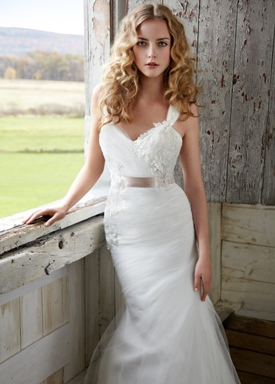 Blush by Hayley Paige Ivory Dress/ Sash Tulle and Lace 1205- Blossom Wedding Dress Size 4 (S)