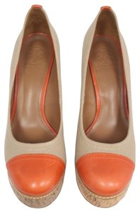 Tory Burch Reva Ballet Ballerina Fashion Summer Orange Brown Wedges