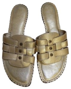Céline Leather Gold Sandals