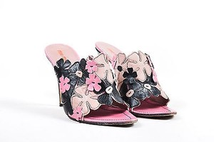 Miu Miu Pink Black Leather Floral Embellished Heeled Multi-Color Mules