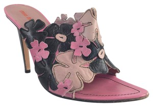 Miu Miu Black Leather Floral Heeled Multi-Color Mules