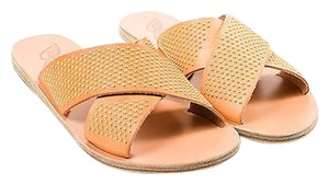 Ancient Greek Sandals Gold Studded Flat Tan Sandals