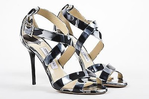 Jimmy Choo Black Silver Gray Sandals
