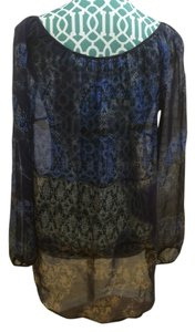 Language Silk Shirt Tunic Top Blue