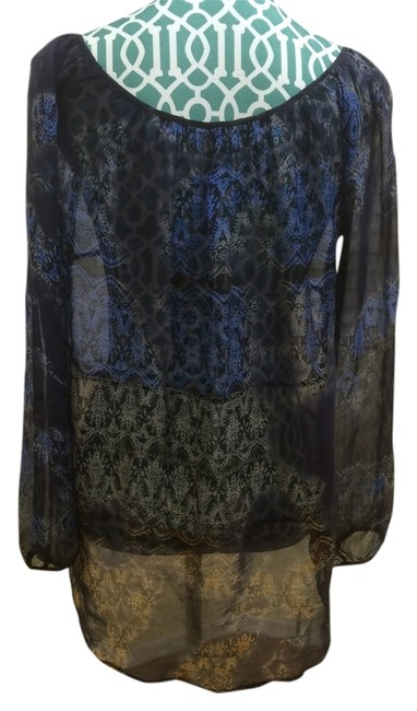 Language Silk Shirt Tunic Boho Bohemian Indie Hippie Gypsy Sheer Ethereal Ultra Light Loose Fit Elegant Classic Classy Fashion Top Blue