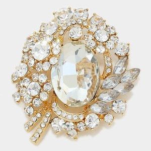 Rhinestone Crystal Gold Brooch Pin