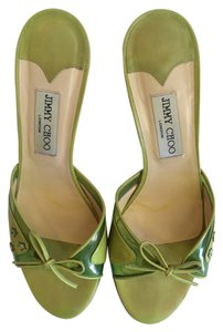 Jimmy Choo Green Resort Sandals Bow Lime Green Mules
