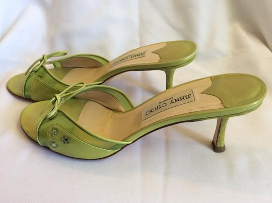 Jimmy Choo Resort Sandals Bow Lime Green Mules Image 5