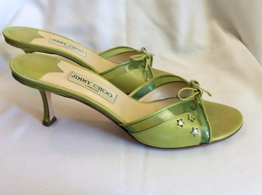 Jimmy Choo Resort Sandals Bow Lime Green Mules Image 7