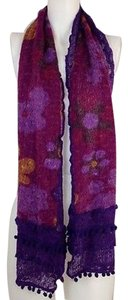 Womens Purple Scarf With Floral Design Etched Edges