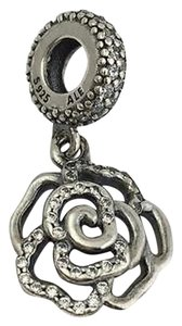 PANDORA Pandora Shimmering Rose Dangle 925 Silver Bead Charm 791526cz