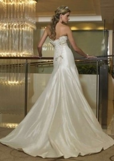 Ivory/ Champaign French Teffeta Tabrett Wedding Dress Size 8 (M)
