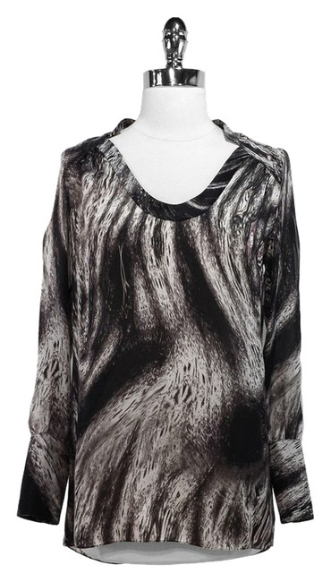 Magaschoni Collection Silk Top Black/White