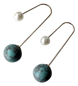 Other Two-Sided Curve Wire Faux Pearl and Turquoise Earrings