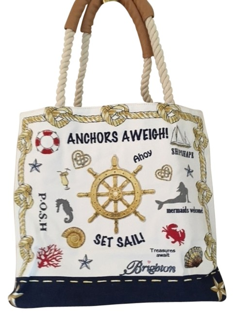 Item - Sail Into Summer Tote Red White and Blue Canvas Beach Bag