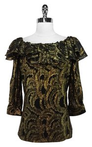 Milly Silk Top Black/Gold