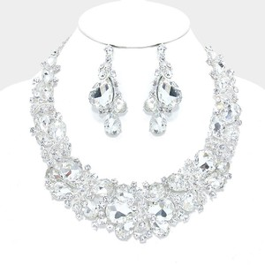 Clear Silver Rhinestone Crystal Teardrop Vine Necklace and Earrings Jewelry Set