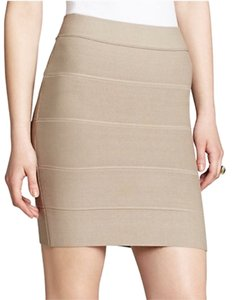 BCBGMAXAZRIA Bandage Mini Skirt Tan