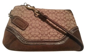 Coach Brown Khaki Cosmetics Case Wallet Suede Wristlet in Brown/Logo