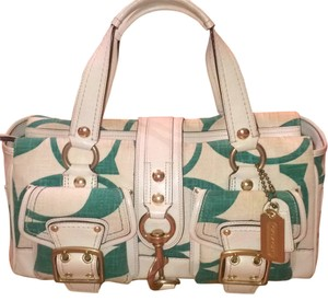 Coach Satchel in Cream And Turquiose