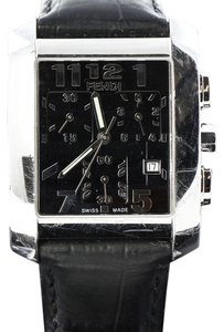 Fendi FENDI Mens Croc Embossed Leather Orologi Watch Black