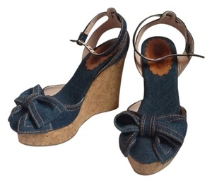 RED Valentino Denim Bow Ankle Strap Closed Toe blue Wedges