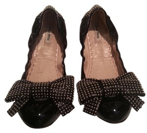 Miu Miu Bow Made In Italy Studs Black Flats