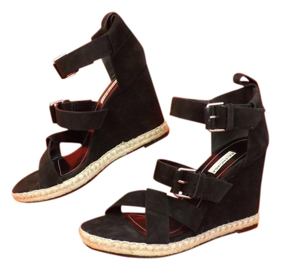41e79dbbe5f2 Balenciaga Black Suede Buckle Ankle Strap Espadrille Wedge Sandals ...