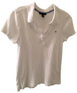 Tommy Hilfiger Polo Preppy Classic Stretch Ribbed T Shirt White Polo