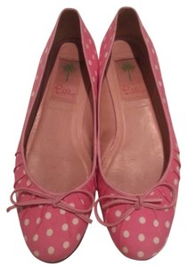 Lilly Pulitzer White Ballet Rounded Toe Pink Flats