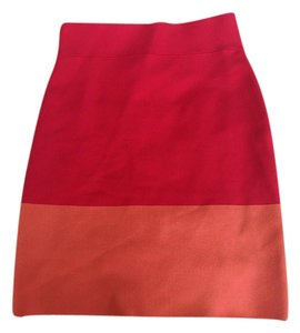 BCBGMAXAZRIA Skirt Red Orange Colorblock