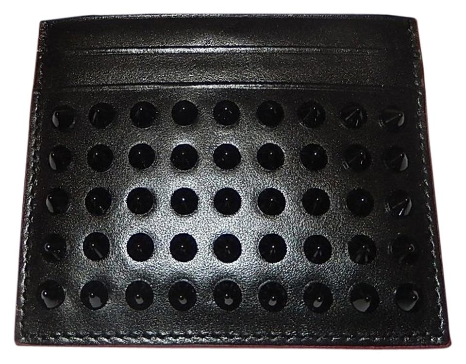 f0783ce92e2 Christian Louboutin Black Cl Leather Studded Kios Card Holder Wallet 37%  off retail