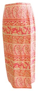 Talbots Rayon Wrap Vintage Palsley Skirt Orange