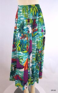 Carole Little Sport Colorful Crepe Rayon Floral Garden Theme Maxi Skirt Multi-Color